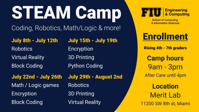 Image of CS Steam Summer Camp Schedule