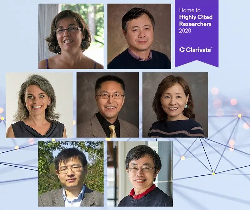 Seven professors from UD have been named to Clarivate's 2020 Highly Cited Researchers list. Top from left: Cecilia Arighi and Hongzhan Huang; middle row: Wendy Smith, Bingqing Wei and Cathy Wu; bottom row: Xiang-Gen Xia and Yushan Yan.