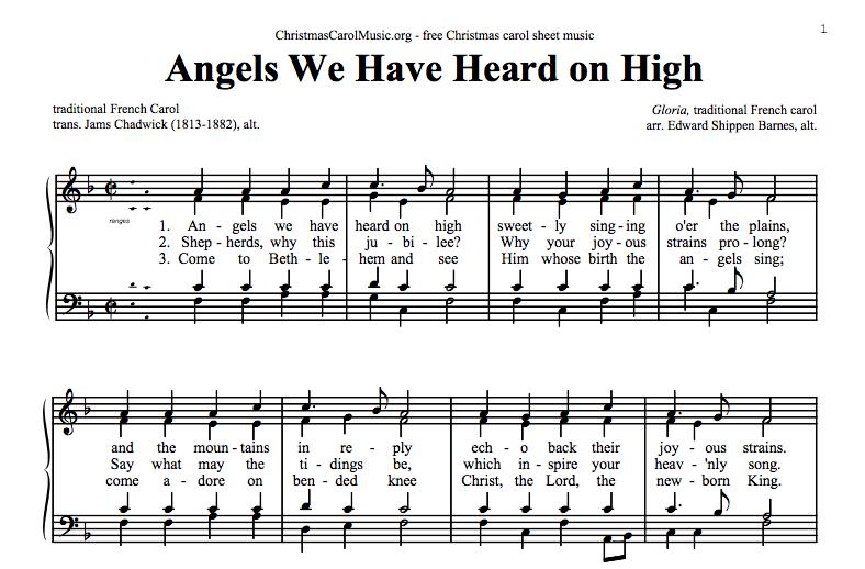 Free Christmas Carol Sheet Music Pdf | Thecannonball org