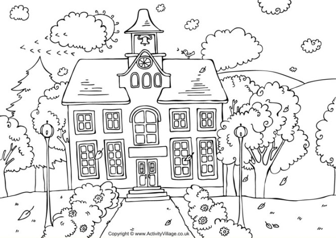 Theme 5 School House Coloring