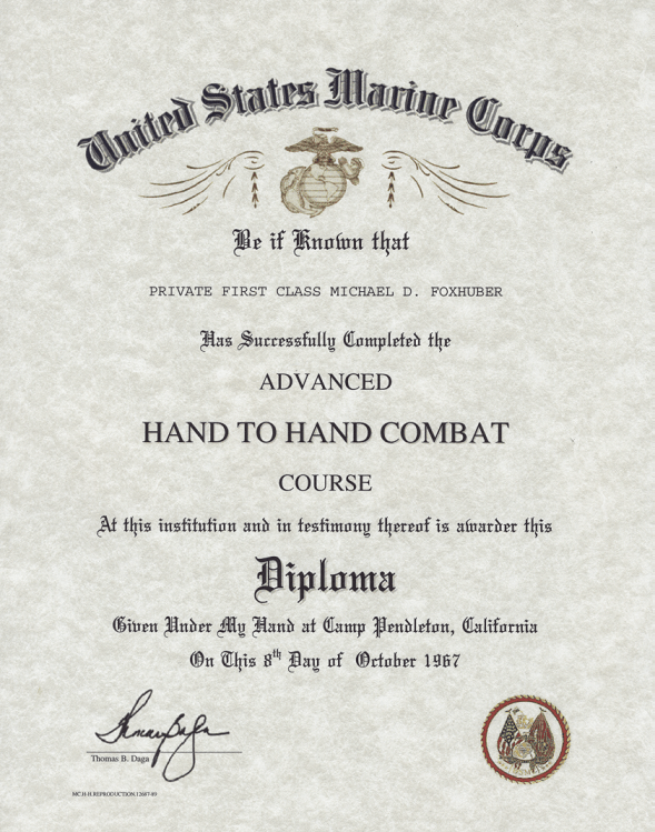 USMC Advanced Hand to Hand Combat Course Certificate