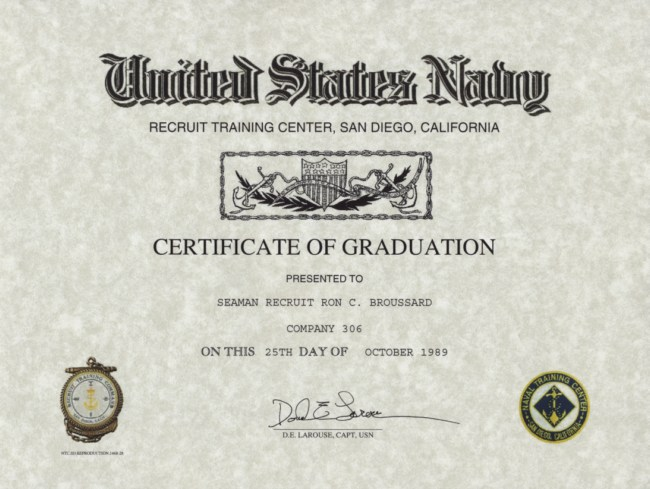 Navy Recruit Training Certificate