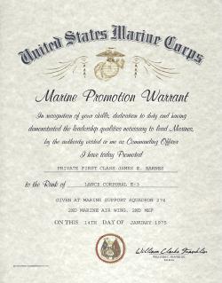 USMC E-2 E-3 Enlisted Promotion Warrant