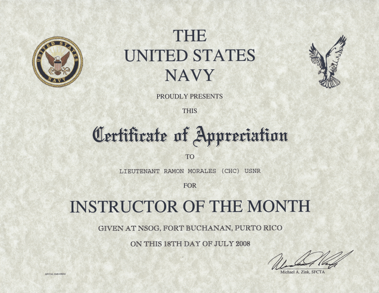 Air Force Instructor of The Month Certificate