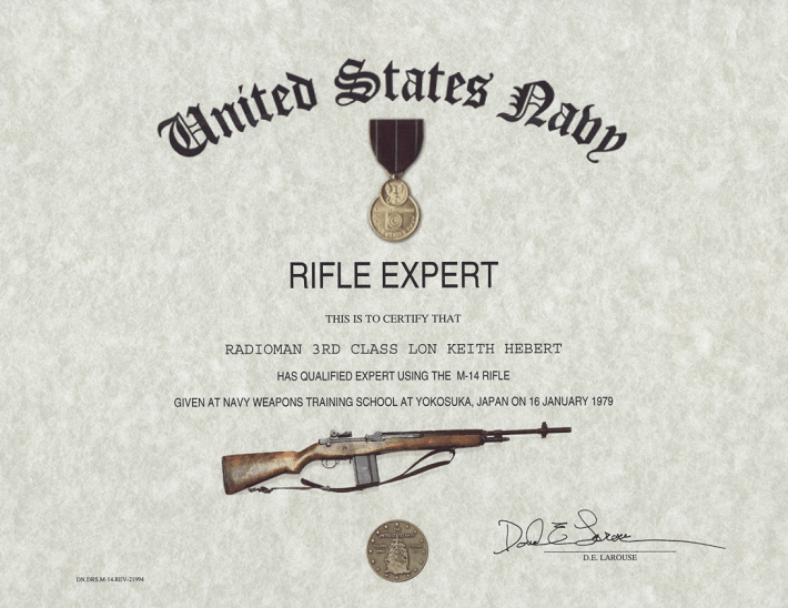 Navy M-16 Rifle Expert Medal Certificate