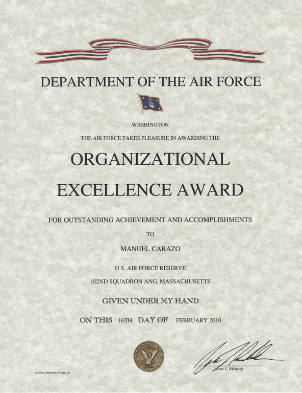 Air Force Organizational Excellence Award