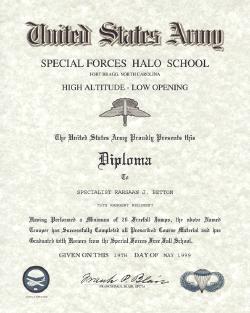 Army HALO Freefall Certificate, FT Bragg NC, Yuma Proving