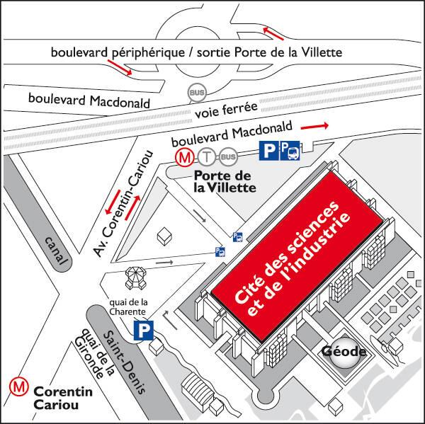 plan de quartier : la Cité des sciences est située entre le boulevard Macdonald et l'avenue Corentin Cariou - Station Porte de la Villette
