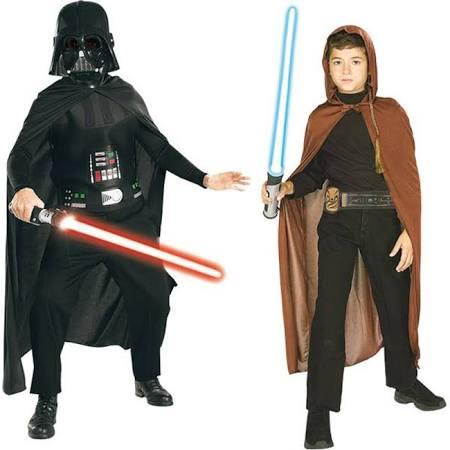 Déguisement Jedi et Darth Vader avec sabres-lasers