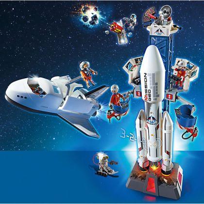 Playmobil Navette spatiale, Satellite avec laser, météoroïde et base de lancement avec fusée