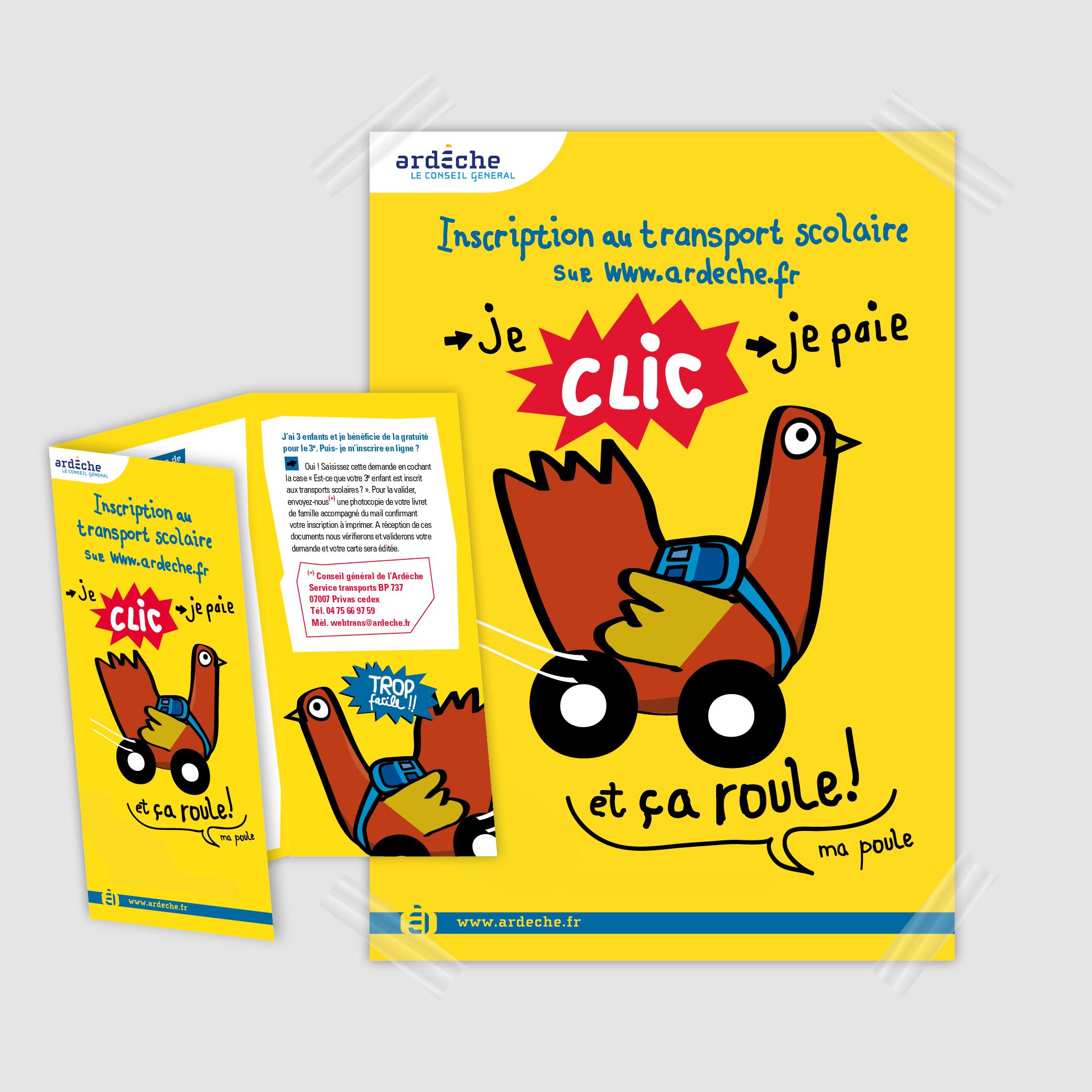 Ca roule ma poule, les transports scolaires pour le conseil général de l'Ardèche par Cités Plume, agence de communication à Villeurbanne, Rhône
