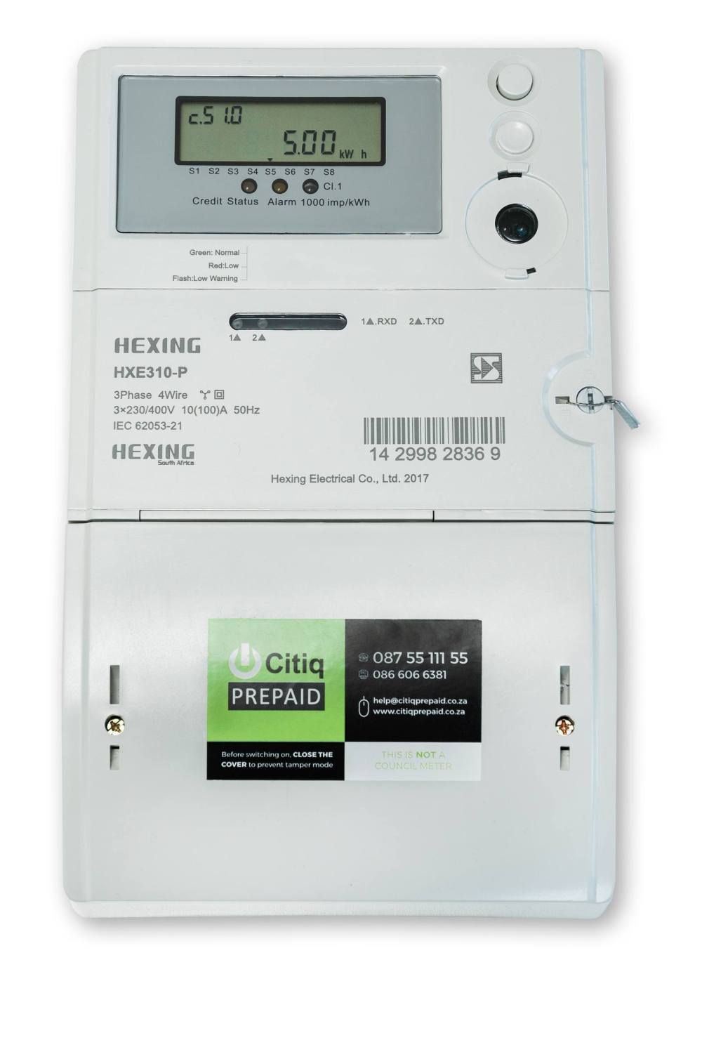 medium resolution of hexing three phase plc hxe 310 p split electricity meter hxe310 p is a three phase direct connection