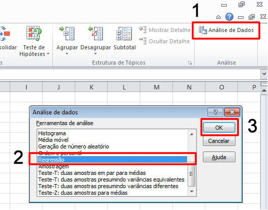 regressao linear excel