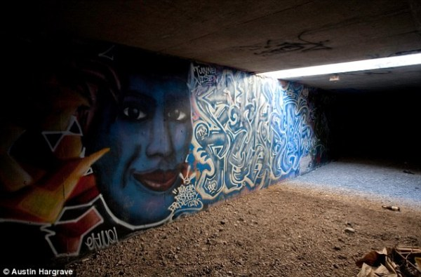 Graffiti artists have turned this area of the tunnel network into a gallery: The channels stretch for more than 200 miles under the ground Photo © Austin Hargrave