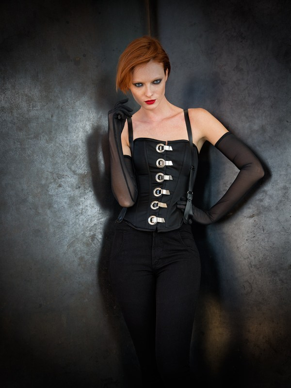 Corset with metal fastenings by Trappola Di Venere Suspender overalls by Urban Outfitters Photo © Icarus Blake