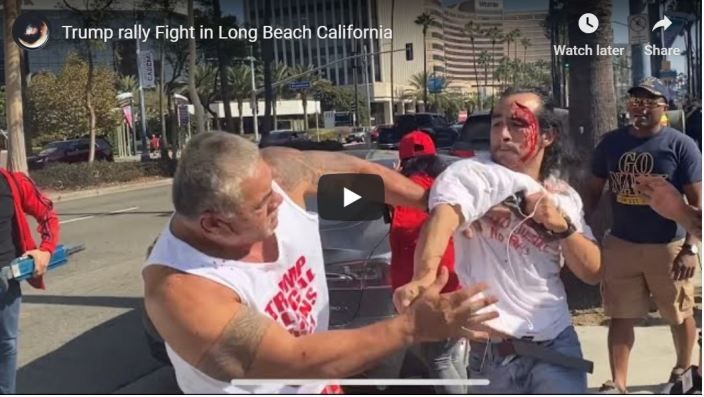 Trumpster kicks some ass in bloody California fight