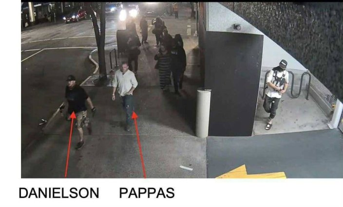 BREAKING BUSTED — New photos show Michael Reinoehl, with hand on weapon, lying in wait for Jay Danielson — Chick in striped dress was accomplice