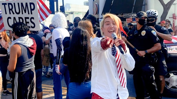 JOY VILLA IS AWESOME — Ricky Rebel turns Los Angeles Antifa riot into MAGA street dance party… Who has more fun than the Trump train!