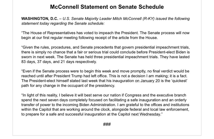 McConnell issues statement on Senate impeachment trial…