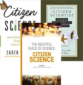 three covers of books on citizen science