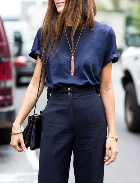 wearing blue, navy outfit