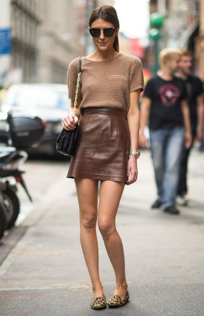 brown outfit, leather skirt,