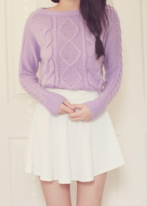 lavander sweater, wearing lavander