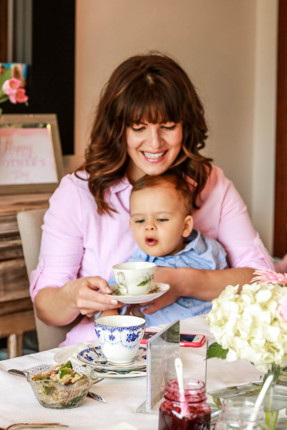 mother's day activity, afternoon tea, pink stripe feminine dress