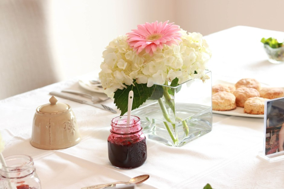 mother's day afternoon tea, table, flowers, jam
