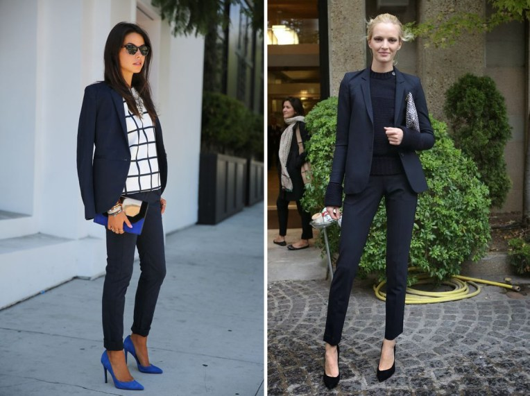 fall 2017 trend, black, navy indigo blue outfit