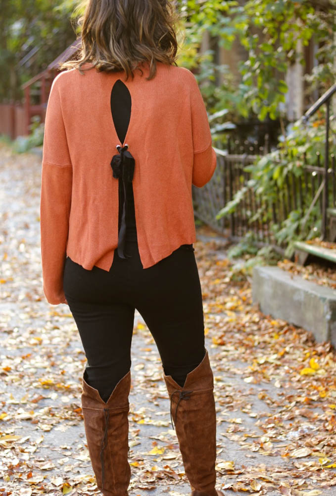 2017 fashion sweaters fall winter style, pregnant style, fall outfit, fall color, orange, AEO, sweater detail, bows