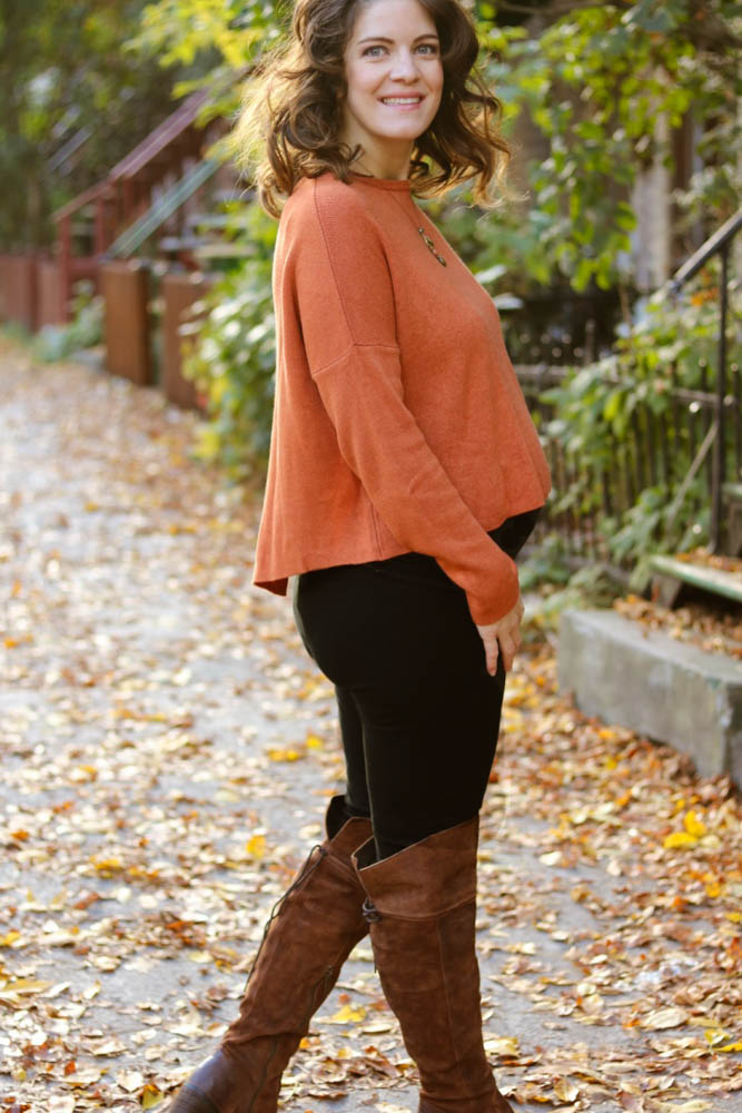 2017 fashion sweaters fall winter style, pregnant style, fall outfit, fall color, orange, AEO, sweater detail, born boots, over the knee boots