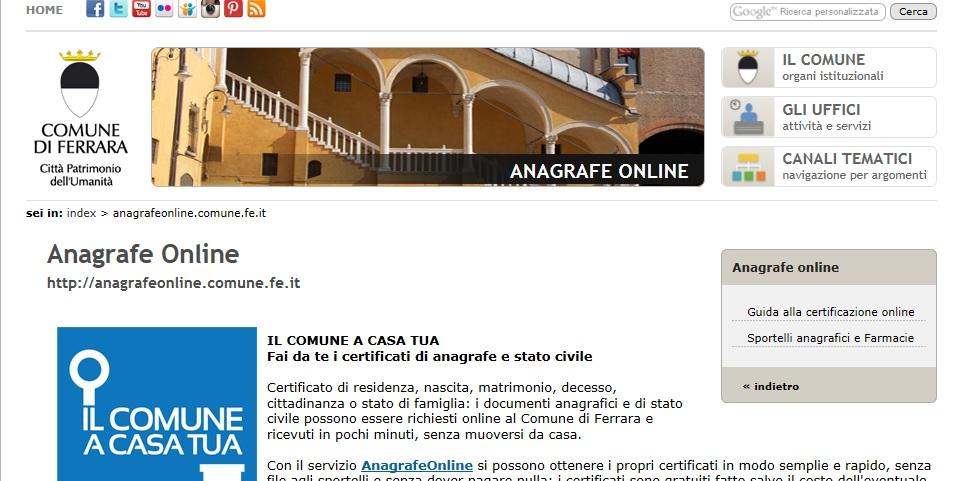 Il Comune a casa tua a Ferrara i certificati si fanno a costo zero on line  cittadini di twitter