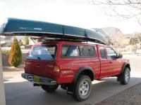 Canoe on truck w/cap, Thule Tracker II roof rack system ...