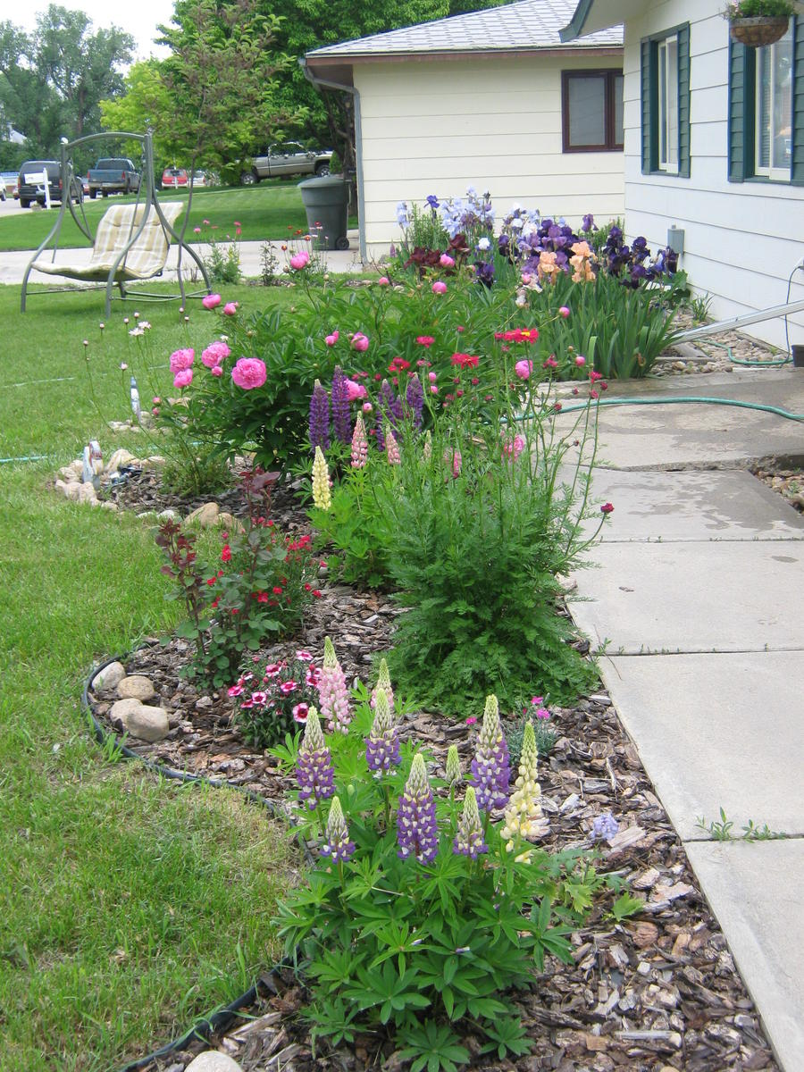 Classic Flower Bed Landscaping With Large Stones Gardening