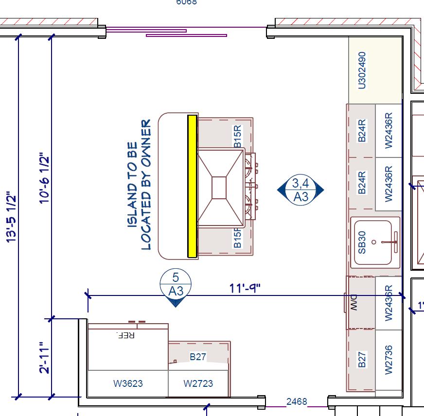Kitchen Island Distance To Cabinets Dishwasher Stove Sink