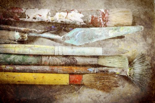 a few old paintbrushes