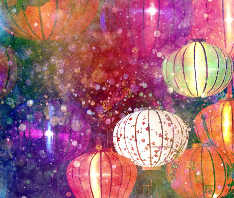 paper lanterns and glittery lights