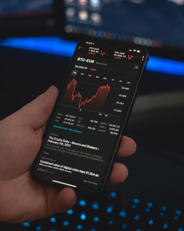 Bitcoin price in euros on phone