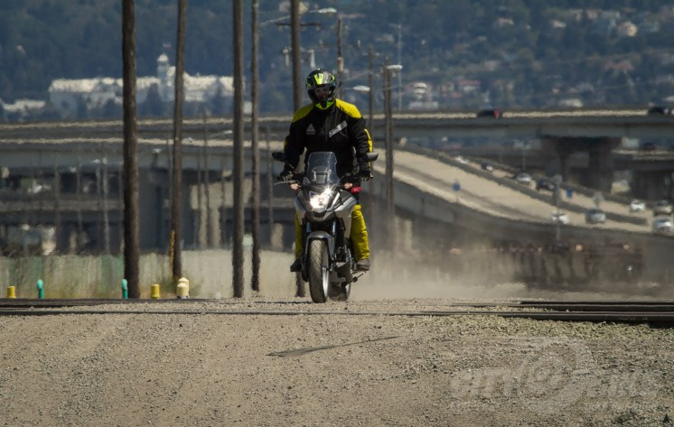 'Stich? Check. ADV helmet? Check. Helimot gloves? Check. Editor Surj has engaged urban adventure mode! Photo: Max Klein.