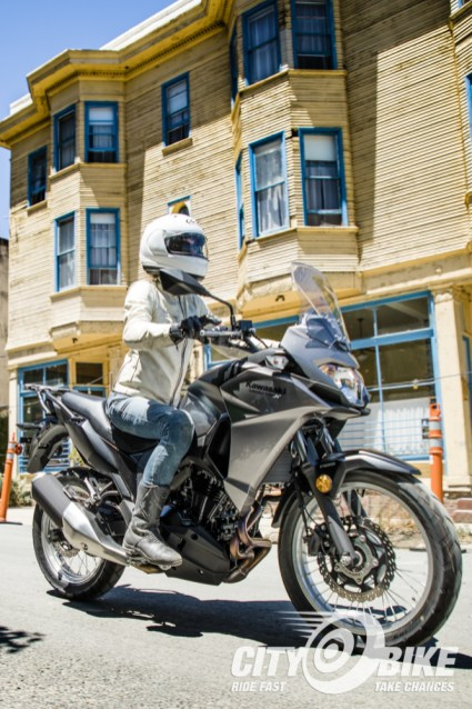 Kerri rolls into Port Costa on the Kawasaki Versys-X 300.