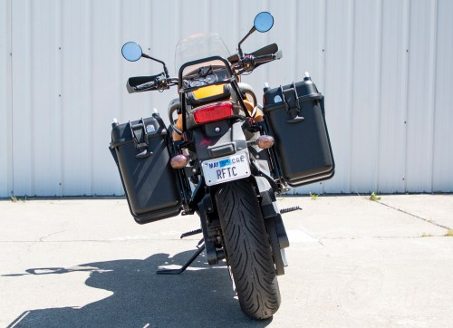 Rear view of AcmeMoto2 Panniers mounted on a 2009 Buell Ulysses.