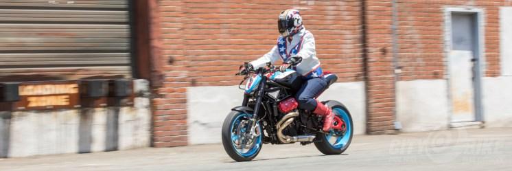 An Rides the Fuller-built Custom Motus