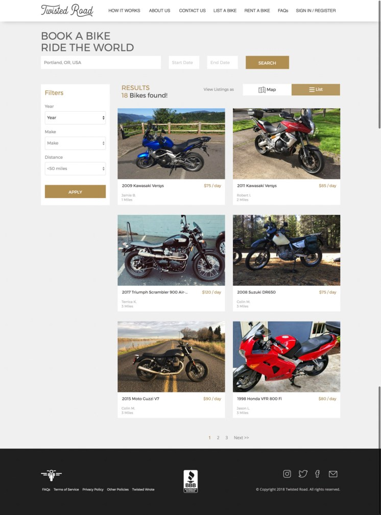 Motorcycles available to rent in Portland on Twisted Road.