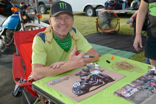 Gary Ketchum signing autographs for fans at the 2018 Calistoga Half-Mile.