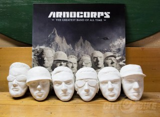 Sculptures for the cover of The Greatest Band of All Time LP, faces of the band members used to create a Rushmore-esque version of the Alps.