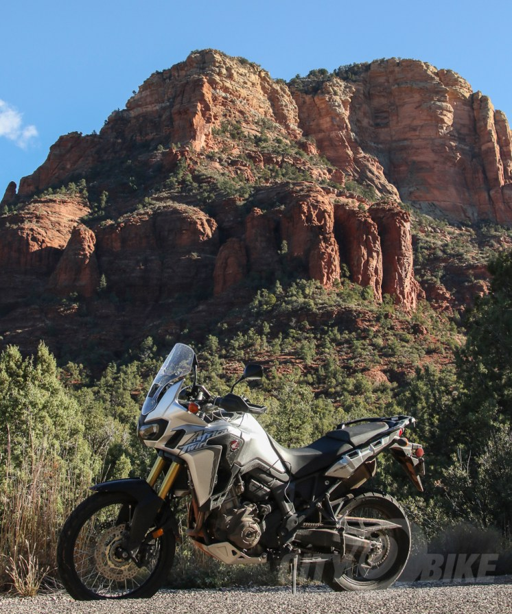 "Our ""Arizona Twin,"" AKA Honda Africa Twin DCT. Photo: Max Klein."