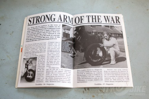 An article from 1987 featuring another Hossack front end, this one a prototype for military motorcycles.