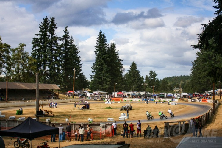 The track at Rainier, Washington. Originally built in the 1950's as a rodeo grounds, now much improved thanks to soil trucked in from Brad Baker's personal track.