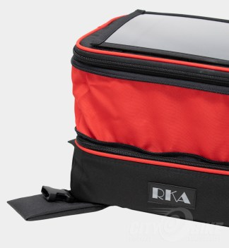 Premium colors - custom red expansion fabric - RKA SuperSport 19.5 liter expandable tankbag